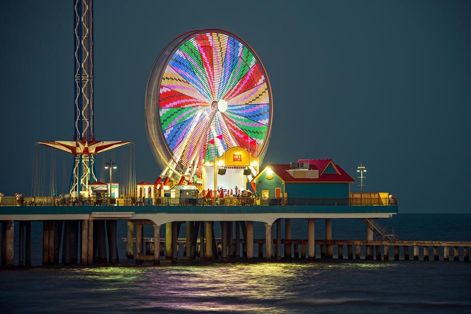 Galveston Pleasure Pier at Night